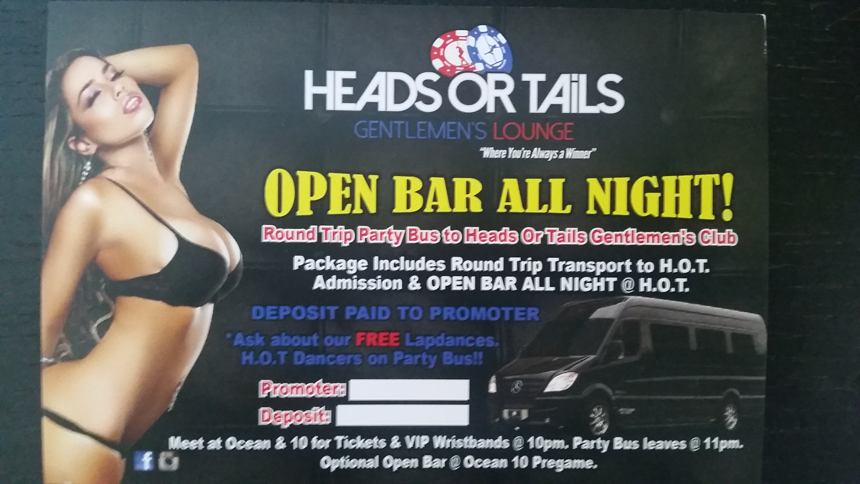 Open Bar ALL NIGHT @ HEADS OR TAILS Gentlemens Lounge