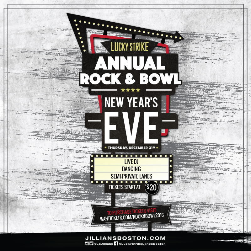 Annual Rock & Bowl New Years Eve at Jillians/Lucky Strike!